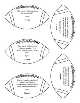 Kickoff to Fun!: Library Skills Football Review Game by