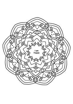 Mindful Coloring Page with Positive Affirmation