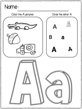 Kindergarten Alphabet Practice Worksheets, Just Print and