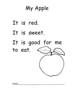 Kindergarten Apple Literacy Unit: Poems Info Text The