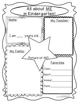 Kindergarten Back to School Journal, Open House, and Mini