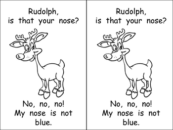 Kindergarten Christmas Emergent Reader- Rudolph's Nose