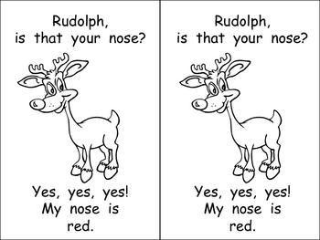 Kindergarten Christmas Emergent Reader- Rudolph's Nose