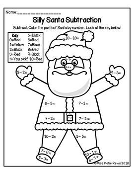 Kindergarten Christmas/Winter Subtraction Within 10 Color
