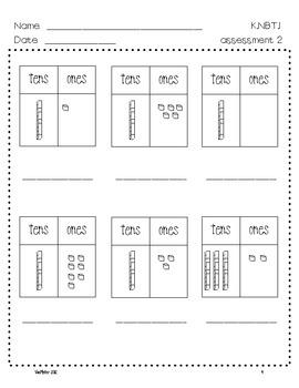 Kindergarten Common Core Math Assessments- K.NBT.1 by Mrs