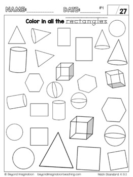 Kindergarten Math Worksheets Geometry Identify and