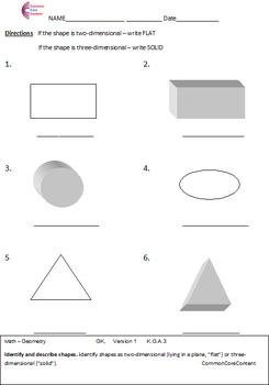 Kindergarten Common Core Math Worksheets Geometry All