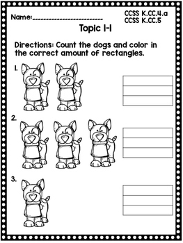 Kindergarten Envision Math Topic 1 Worksheets by Keepin up