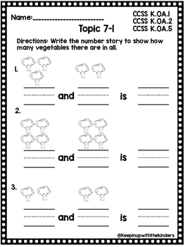 Kindergarten Envision Math Topic 7 by Keepin up with the