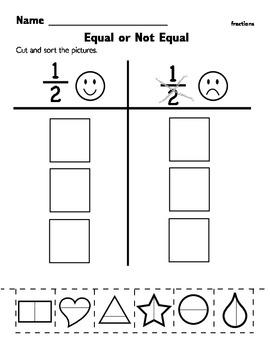 Kindergarten Fraction Worksheet By Seeds4teaching