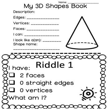 Kindergarten/Grade 1 Geometry: 3D Shapes Unit-Task Cards