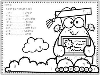 Kindergarten Graduation Color-By-Number FREEBIE by