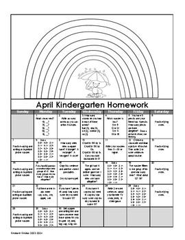 Kindergarten Homework Calendars 2019-2020 (Free Yearly