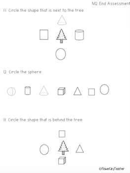 Kindergarten Math Module 2 Assessment by FlowerCityTeacher