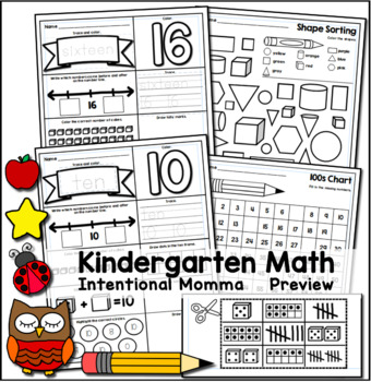 Kindergarten Math Worksheets for Common Core by
