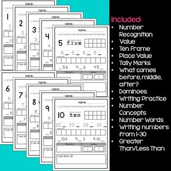 Kindergarten Number Recognition And Value Worksheets 1 To