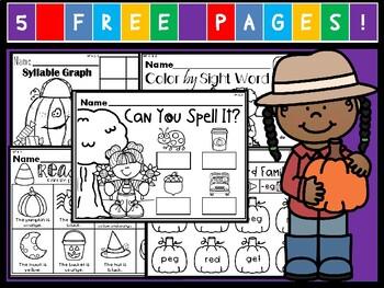 Kindergarten October Language Arts Freebie! (Common Core