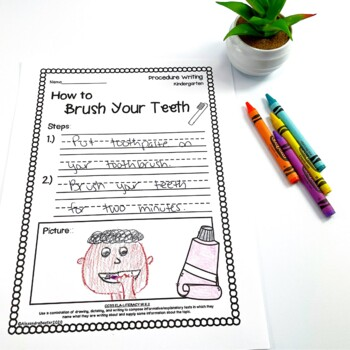 Kindergarten Procedure Writing Prompts/Worksheets by