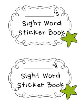 Kindergarten Reading Street Sight Word Sticker Book by