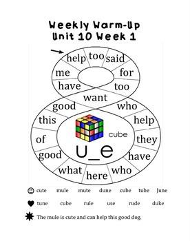 Kindergarten Reading Weekly Warm-Ups Unit 1-10 by La clase