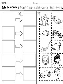Kindergarten Rhyming Activities with Learning goals by K