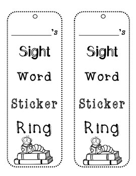 Kindergarten Sight Word Sticker Ring (aligned with