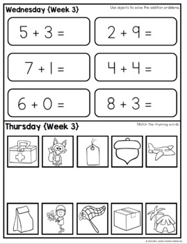 Kindergarten Summer Review Homework {Editable} by Mrs