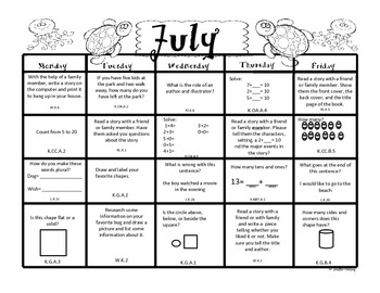 Kindergarten Summer Packet (Common Core Aligned) by Mrs