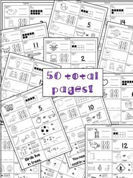 Kindergarten Summer Review Skills Workbook (50 pages) by