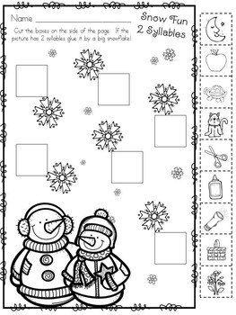 Kindergarten Syllables and Sight Words and Snow Freebie by