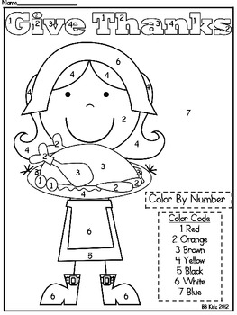 Kindergarten Thanksgiving Color By Number Code Pilgrim