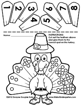 Kindergarten Thanksgiving Cut and Paste Numberlines by