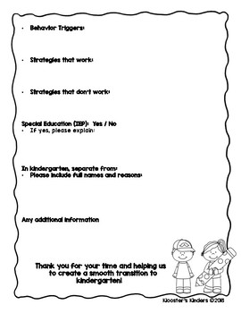 Kindergarten Transition Forms for Parents and Teachers