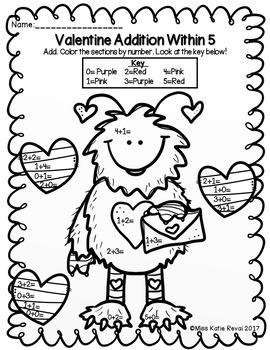 Kindergarten Valentine Addition & Subtraction Within 5