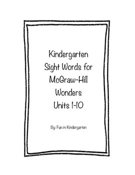 Kindergarten Wonders Sight Word Cards by Frantic in Fourth