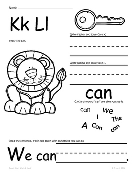 Kindergarten Wonders Smart Start Homework Packet by Kinder