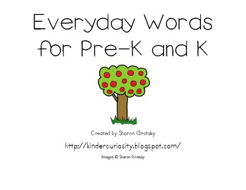 Kindergarten Word Wall Word Apples (sight words, everyday