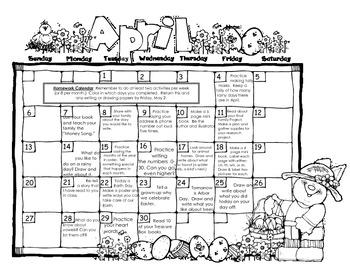 Kindergarten monthly homework calendar. 14+ Calendar