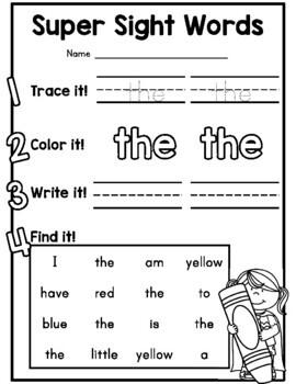 Kindergarten sight word practice sheets {Benchmark