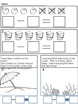 Subtraction Assessment for Kindergarten/1st/2nd by Corrie