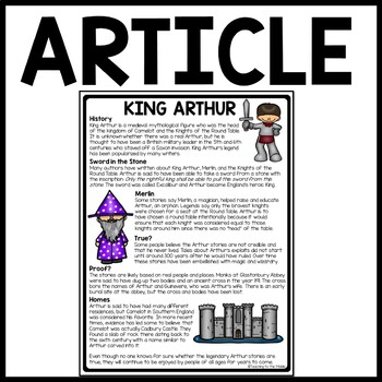 Legend of King Arthur Folklore Reading Comprehension