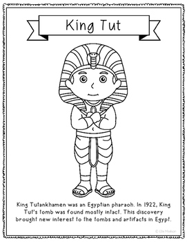 King Tut Coloring Page Craft or Poster with Mini Biography