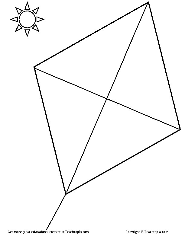 Kite Coloring Page. A diamond kite for coloring. Great for