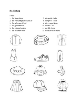 Kleidung (Clothing in German) Farbe Color Worksheet 1 by