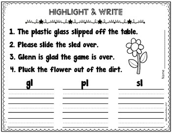 L Blends: Punch-a-Bunch / Highlight & Write (bl, cl, fl
