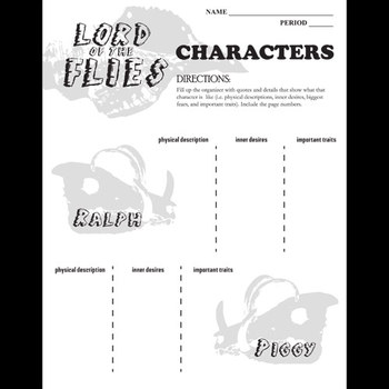 LORD OF THE FLIES Characters Organizer by Created for