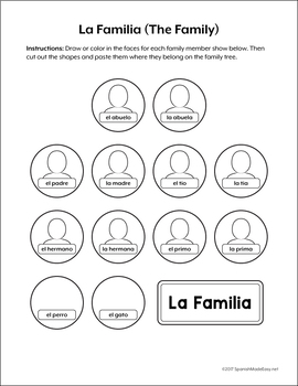 La Familia (The Family) Spanish Interactive Notebook