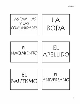 La Familia y Las Comunidades Vocabulary Unit for AP