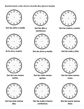 La Hora- Spanish Time Practice Worksheets by