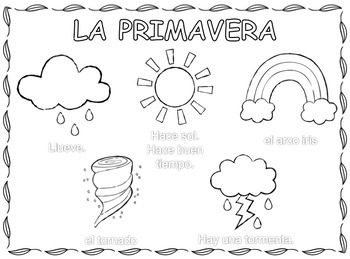 La primavera, Spring Weather Coloring Pages in Spanish by